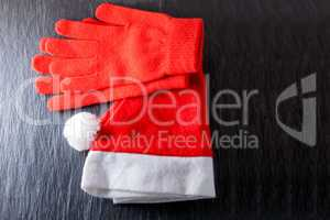 Santa's hat  and red gloves