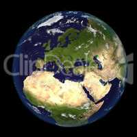 The Earth from space showing Europe and Africa 3d render illustration. Other orientations available.