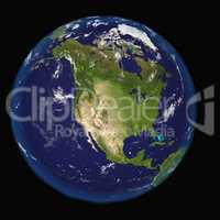 North America from space. Elements of this 3d image furnished by NASA