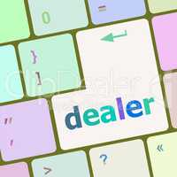 dealer button on keyboard with soft focus