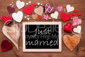One Chalkbord, Many Red Hearts, Just Married