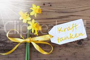 Sunny Spring Narcissus, Label, Kraft Tanken Means Relax