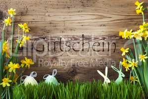 Easter Decoration, Gras, Gutschein Means Voucher