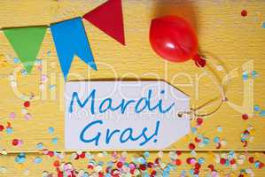 Party Label, Confetti, Balloon, Text Mardi Gras