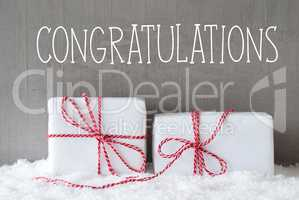 Two Gifts With Snow, Text Congratulations