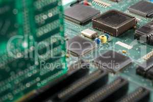Laptop motherboard. Close-up of processor