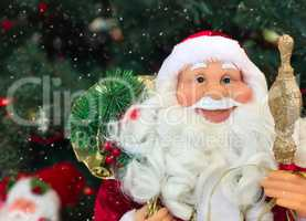 smiling face of a New Year's Santa Claus, snowing