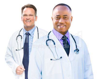 African American and Caucasian Male Doctors Isolated on White