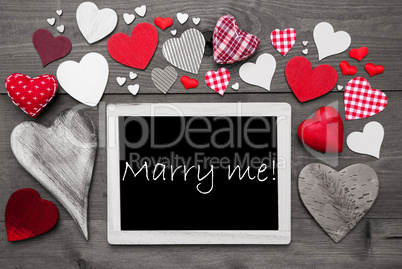 Chalkbord With Many Red Hearts, Marry Me