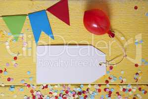 Party Label, Confetti, Balloon, Copy Space