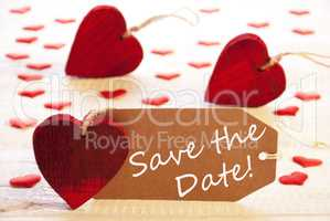 Label With Many Red Heart, Text Save The Date