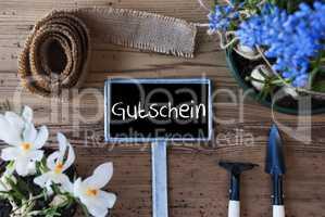 Spring Flowers, Sign, Gutschein Means Voucher