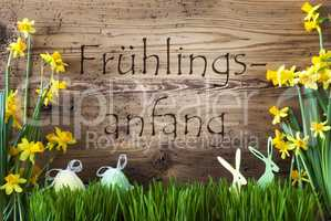 Easter Decoration, Gras, Fruehlingsanfang Means Beginning Of Spring