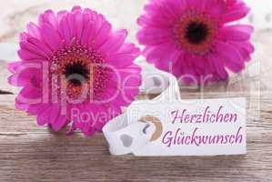 Pink Spring Gerbera, Label, Herzlichen Glueckwunsch Means Congratulations