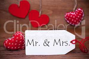 Read Hearts, Label, Text Mr And Mrs