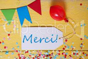 Party Label, Confetti, Balloon, Merci Means Thank You