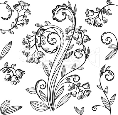 Decorative floral pattern with bluebells