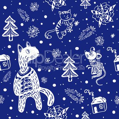 pattern doodle snowflakes