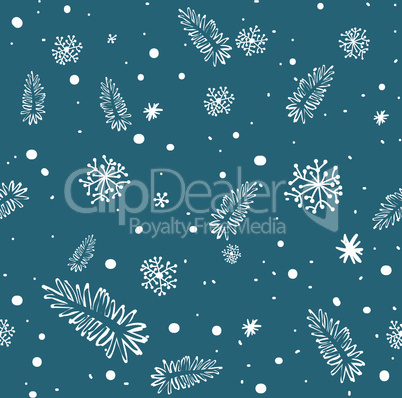 seamless doodle with snowflakes and branches