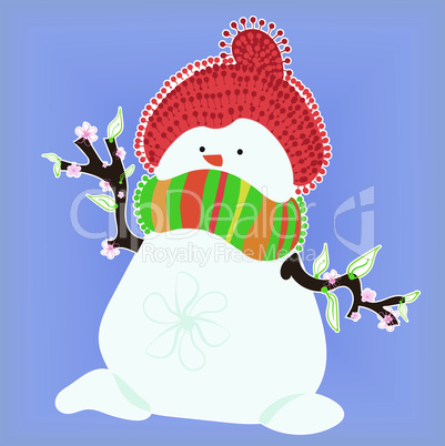 Snowman in Spring on Blue Background
