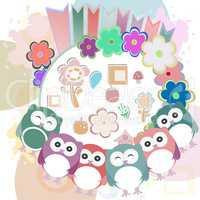retro flowers and cute owls