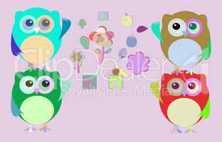 sweet owls and flowers mosaic