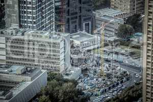 Aerial view of construction site in Tel Aviv, Israel