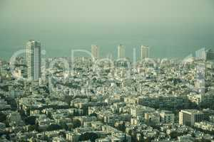 Aerial view of the City of Tel Aviv, Israel on hazy day