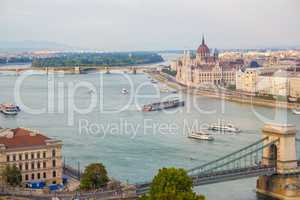 Budapest city view at the Hungarian Parliament and Margaret Isla