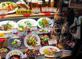 Realistic plastic food display in Japan