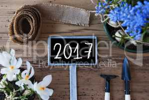 Spring Flowers, Sign, Text 2017
