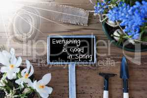 Sunny Flowers, Sign, Text Everything Good In Spring