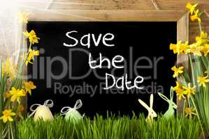 Sunny Narcissus, Easter Egg, Bunny, White Text Save The Date