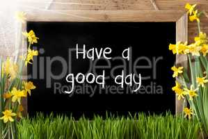 Sunny Spring Narcissus, Chalkboard, Text Have A Good Time
