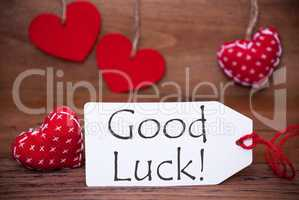 Read Hearts, Label, Text Good Luck