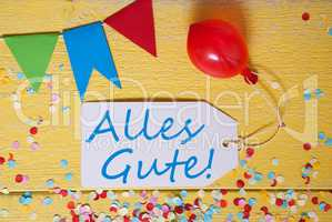 Party Label, Confetti, Balloon, Alles Gute Means Best Wishes