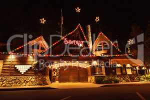 Christmas holiday lights at the Laguna Sawdust Arts Festival