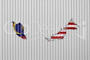 Karte und Fahne von Malaysia auf Wellblech