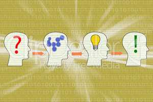 Heads solve symbolically the problem, 3d illustration