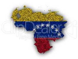 Karte und Fahne von Venezuela auf Mohn