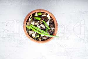 Black rice, apple, asparagus salad