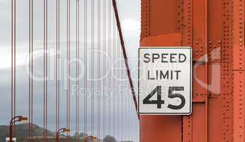 Speed limit sign on Golden Gate Bridge
