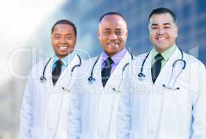 African American and Hispanic Male Doctors Outside of Hospital B