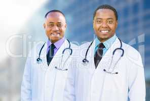 African American Male Doctors Outside of Hospital Building