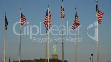 American Flags And Statue Of Liberty