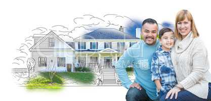 Young Mixed Race Family and Ghosted House Drawing