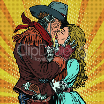 Steampunk robots. Cowboy kisses the girl
