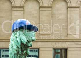 Lion Sculpture in Chicago with Cubs hat