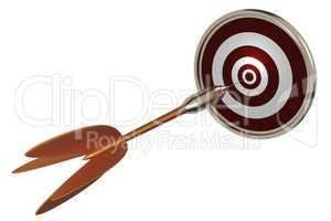 Dart with dartboard, 3d-illustration