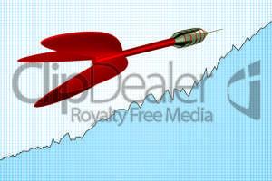 Dart arrow with rising chart, 3d illustration